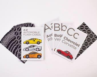 A to Z Automobile Alphabet Flash Cards