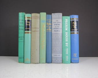 Vintage Blue Book Collection Mismatched Set Of 8 Curated Retro Books Decorative Spines Teal