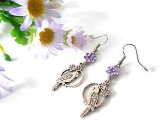 Bird and flower with dusty purple Swarovski crystal earrings