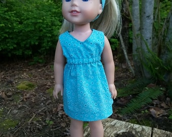 "14.5"" doll clothes- turqoise dress"