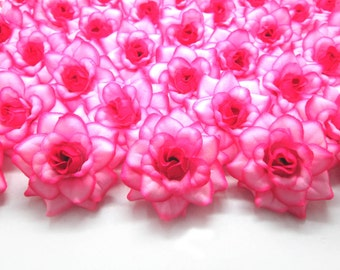 100 Hot Pink Edge mini Roses Heads - Artificial Silk Flower - 1.75 inches - Wholesale Lot - for Wedding Work, Make Hair clips, headbands