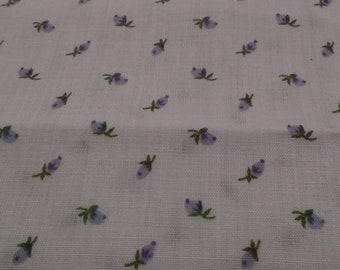 Fabric,  Lighter Weight Quilt Fabric, Lighter Weight Cotton Fabric, Pale Lavender with Lavender Roses Floral Mini Print, 2 Yd plus