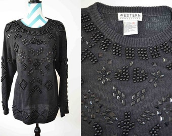 Vintage Black Knit Beaded Sweater- Oversized Holiday Christmas Sweater- Snowflake Western Bead Embroidery- Small