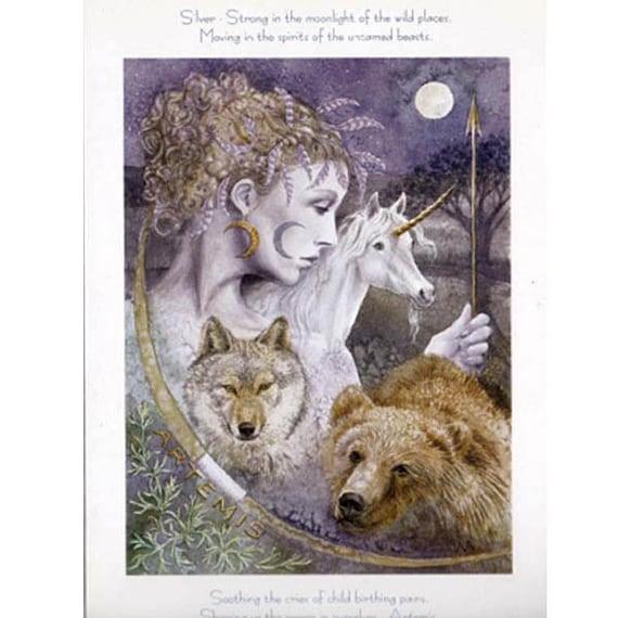 Pagan Wiccan Greeting Card Artemis Goddess Celtic Blank