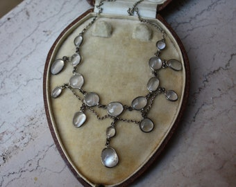 c1905 EDWARDIAN sterling silver and natural moonstone festoon necklace with dropper