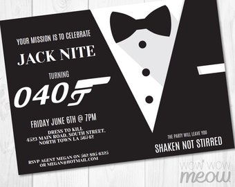 Secret Agent Invitations Tickets Spy Bond Invites INSTANT