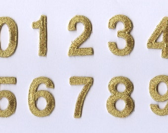 "1"" - Gold Block Numbers - Iron on Applique/Embroidered Patch"
