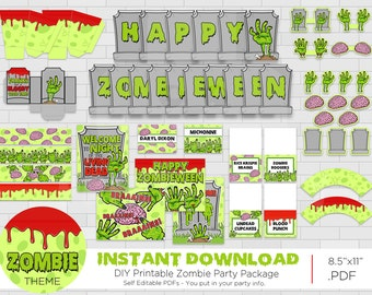 Printable Boy's Zombie Halloween  Party Decorations, Zombie Halloween Party, Printable Walking Dead Party, Print Yourself, Instant Download
