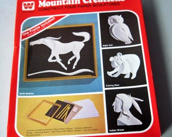 Vintage 1970s Mountain creations 3D Paper sculptures craft kit