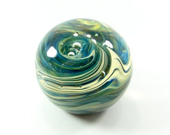 Handblown Glass Paperweight in Warm Blues with Beiges and Hints of Green