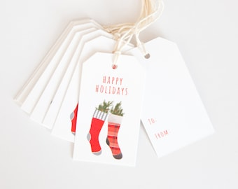 Holiday Gift Tags - Happy Holidays - Christmas Packaging - Hanging Tags - Hand Drawn Stockings
