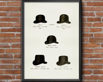 Old fashion vintage Illustrations-catalogue of hats