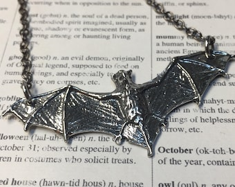 Flying Bat Necklace-Silver bat Necklace-Choose your length-Dracula Necklace-Vampire-Goth-Batcave-Bat jewelry-Vampire necklace-Lily Munster