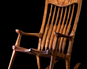 Rocking Chair - Hand Carved Mesquite Burl wooden rocking chair Sam Maloof style