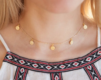 Gold Choker, Gold Coin Choker, Boho Choker, Coin Choker Necklace, Tiny Coin Necklace, Delicate Boho Chic Necklace, Gift for Boho Girl