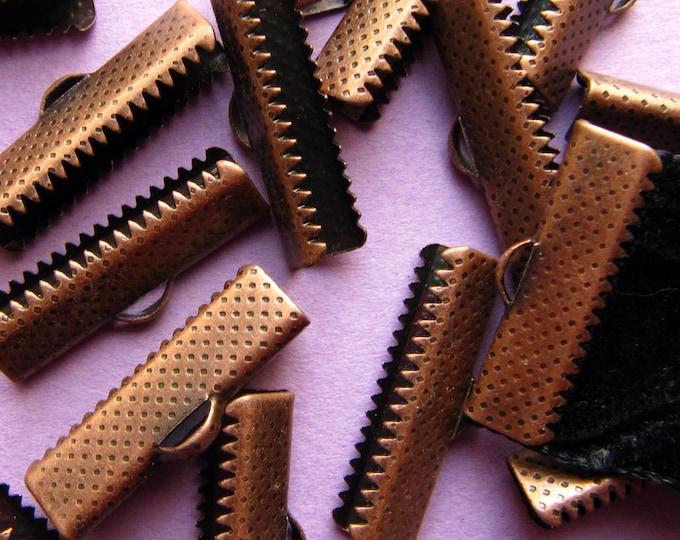16 pieces 22mm or 7/8 inch Antique Copper Ribbon Clamp End Crimps