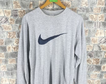 Vintage 1990s NIKE Swoosh Tshirt Small Sportswear Streetwear Nike Air Crewneck Tees Nike Athletic Wear Gray T shirt Size S