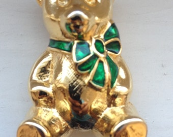 Cute Vintage Teddy Bear Gold Tone Brooch