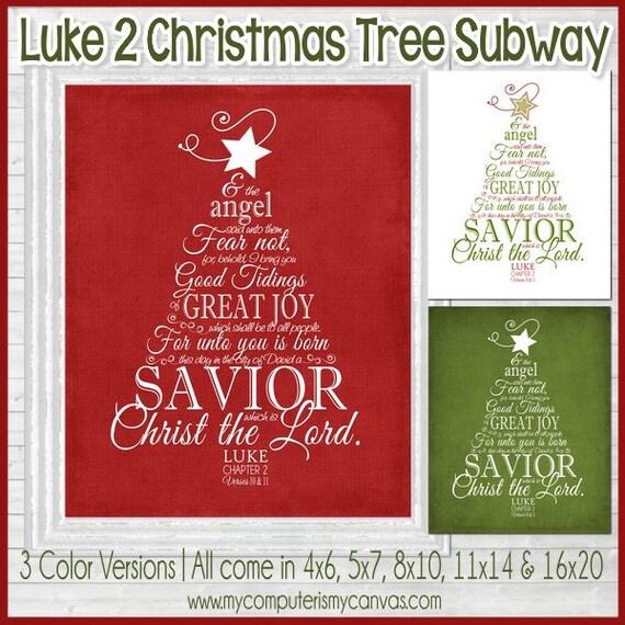 NEW LUKE 2 Christmas Tree Subway Art NATIVITY Art Religious