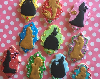 Custom Disney Princess Silhouette Sugar Cookies