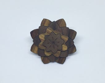Canary and Walnut wood lapel flower - wood lapel - wood flower lapel - grooms accessories - groomsmen gift - Anniversary gift - handmade