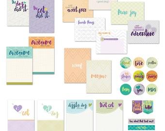 Pet Scrapbook Card Digital Printables / Dog and Cat Pocket Scrapbooking Journal Cards / Project Life Cards