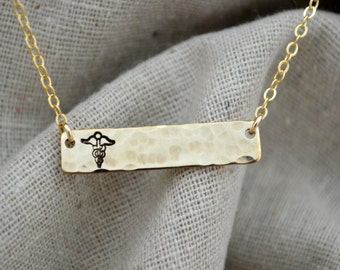 Suspended Medical Alert Necklace - Gold or Silver - Personalize