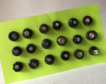 18 Vintabe Black Buttons with Single Rhinestones for Sewing and Crafts