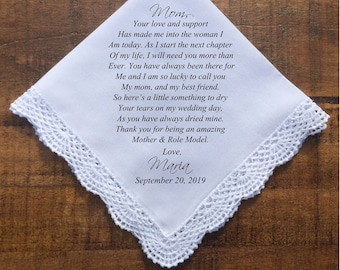 Mother of the Bride Gift Mother of the bride handkerchief mother of the Groom gift Wedding Handkerchief gift PRINTED handkerchief (H 047)