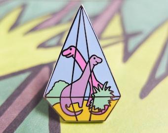 Dinosaur Pin Badge, TerROARium Enamel Pin, Terrarium Pin, Enamel Pin, Lapel Pin, Pastel, Diamond, Geometric, Multi Coloured, Cute