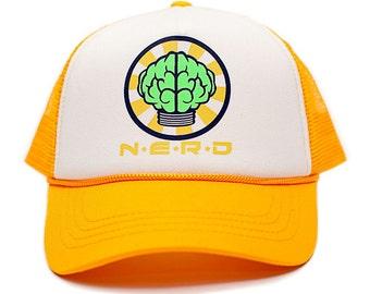 Custom N*E*R*D NEPTUNES NERD Trucker Hat Mesh Hat Snapback cap Gold Curved