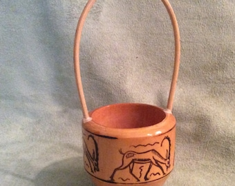 Hand Carved Small Wooden Basket Felt Lined with Handle