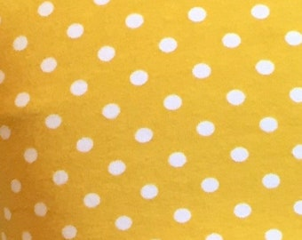 Golden Yellow white sm Polka Dots Cotton lycra knit fabric