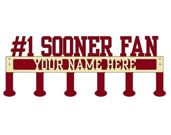 Sooner Fan Coat/Hat Rack with Personalized Text