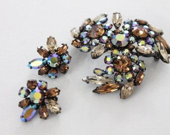 Cristal de topaze brune Sherman bijoux - carcasses broche et boucles d'oreilles - AB - demi parure