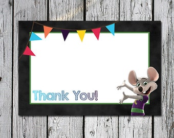 Chuck E Cheese Party Thank You Notes - 6 x 4 - instant download printable printer ready - Birthday Party Thank You cards with Chucky Cheese