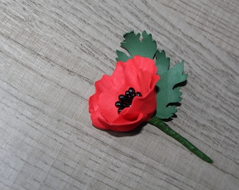 Red Poppy Pin Lapel pins flower Red wedding boutonniere Poppy lapel pin Red Poppy Flower Grooms boutonniere Artificial flower Real Touch