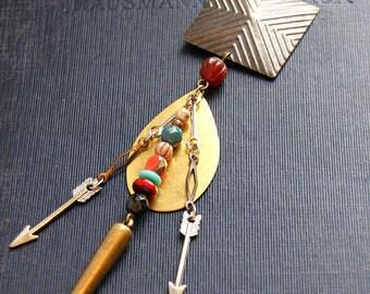 Bohemian Arrow Necklace Native American Necklace Geometric Bullet Necklace Tribal Arrow Necklace Breast Plate Jewelry Boho Statement Jewelry