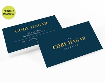 Barber business card etsy blue gold printed business cards business cardsbusiness card designcustom business reheart Image collections