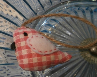 Little pink gingham bird hanging decoration