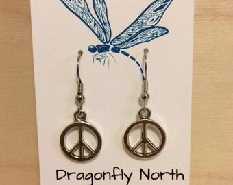 Peace symbol earrings - silver peace symbol charm - peace sign earrings