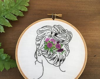 Hand Embroidered Wall Home Decor-Bun with Flowers