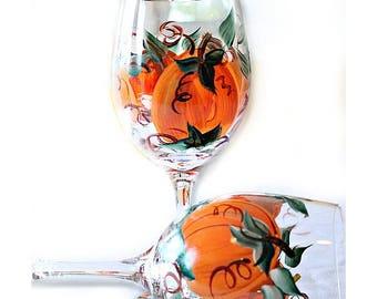 Thanksgiving Wine Glasses, Set of 2,  Pumpkin Wine Glasses, Halloween Wine Glasses, Thanksgiving Hostess Gift, Hand Painted Wine Glasses