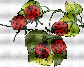 Cross Stitch Pattern, Cross Stitch Patterns, Cross Stitch, Counted Cross Stitch, Cross Stitch Chart, Xstitchpatterns, Cross Stitch Ladybugs