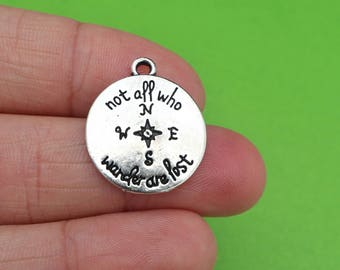 "6 Compass ""Not All Who Wander Are Lost"" Silver Travel Charms (CH201)"