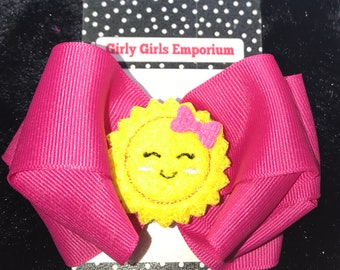 Sunshine Feltie Hair Bow witH a FREE matching headband