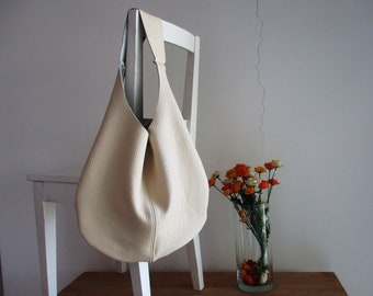 White/ Cream Genuine Italian Leather Hobo bag, Over Size, Slouchy, Shoulder bag