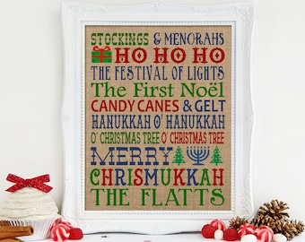 Chrismukkah Subway Art Burlap Print, Chrismukkah Gift, Chrismukkah Decor, Farmhouse Holiday, Christmas Gift, Hanukkah Gift, Wedding Gift