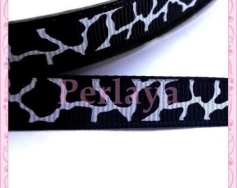1 meter Ribbon grosgrain 9 black and White Giraffe pattern