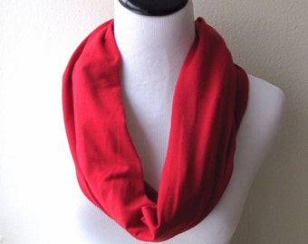 """Red Scarf, Red Infinity Scarf. Red Solid Scarf.Red Loop Scarf. Scarf.loop Scarf.Circle Scarf. Infinity Scarf.7.5"""" x 72"""""""
